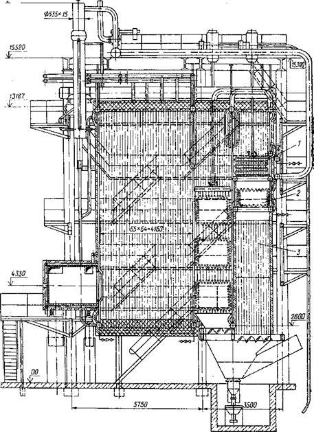 Рис. 5-6.  Комбинированный пароводогрейный котел КВ-ГМ-50 с дополнительной конвективной шахтой.